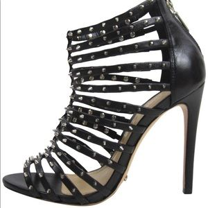 Leather Jessee Studded Cage Heel Strappy Sandals